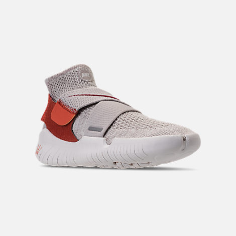 Three Quarter view of Women's Nike Free RN Motion Flyknit 2018 International Women's Day Running Shoes in Moon Particle/Sail/Team Red/Habanero
