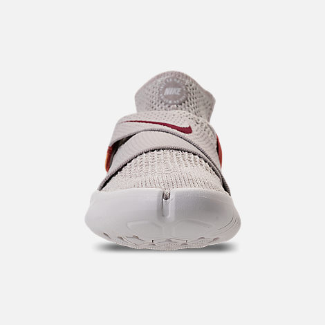 Front view of Women's Nike Free RN Motion Flyknit 2018 International Women's Day Running Shoes in Moon Particle/Sail/Team Red/Habanero