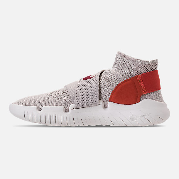 Left view of Women's Nike Free RN Motion Flyknit 2018 International Women's Day Running Shoes in Moon Particle/Sail/Team Red/Habanero