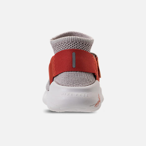 Back view of Women's Nike Free RN Motion Flyknit 2018 International Women's Day Running Shoes in Moon Particle/Sail/Team Red/Habanero