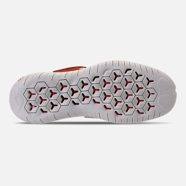 Bottom view of Women's Nike Free RN Motion Flyknit 2018 International Women's Day Running Shoes in Moon Particle/Sail/Team Red/Habanero