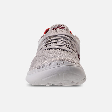 Front view of Women's Nike Free RN 2018 International Women's Day Running Shoes in Moon Particle/Team Red/Habanero Red
