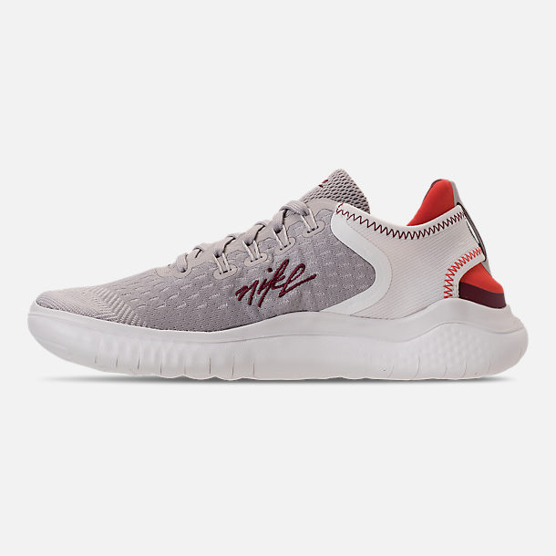 Left view of Women's Nike Free RN 2018 International Women's Day Running Shoes in Moon Particle/Team Red/Habanero Red