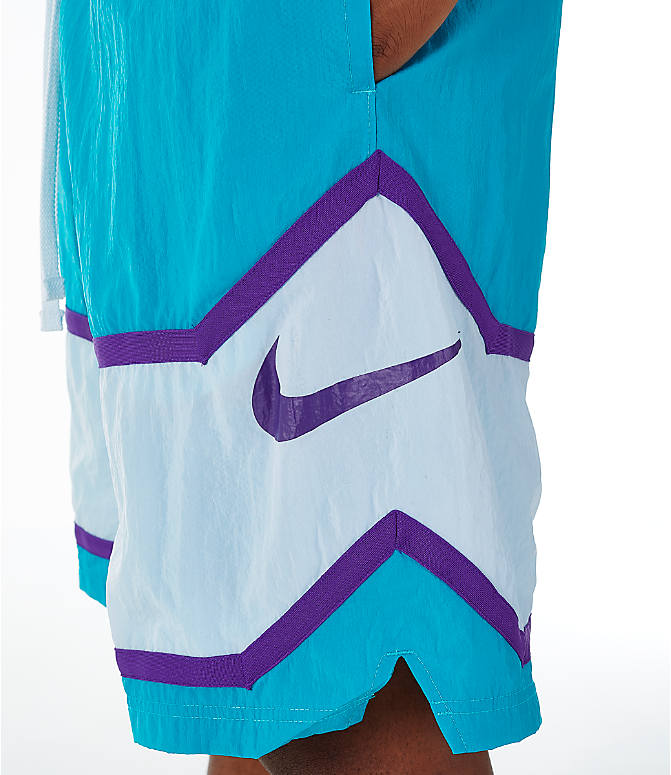 Detail 1 view of Men's Nike Throwback Basketball Shorts in Teal/White