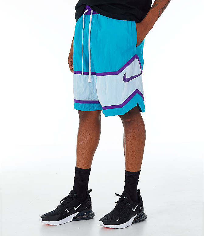 Front view of Men's Nike Throwback Basketball Shorts in Teal/White