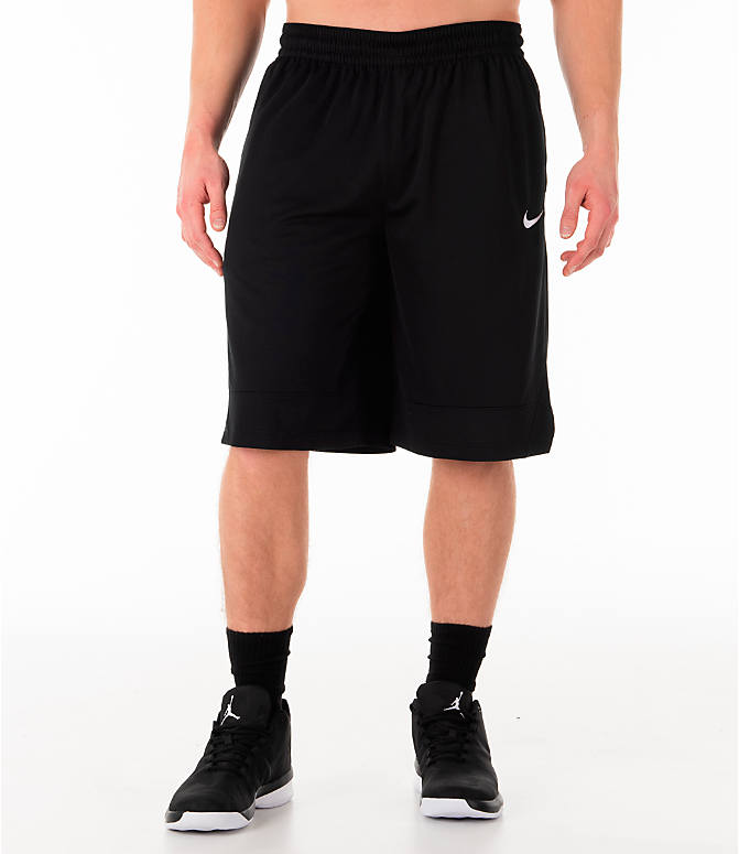 Front Three Quarter view of Men's Nike Dri-FIT Icon Basketball Shorts in Black