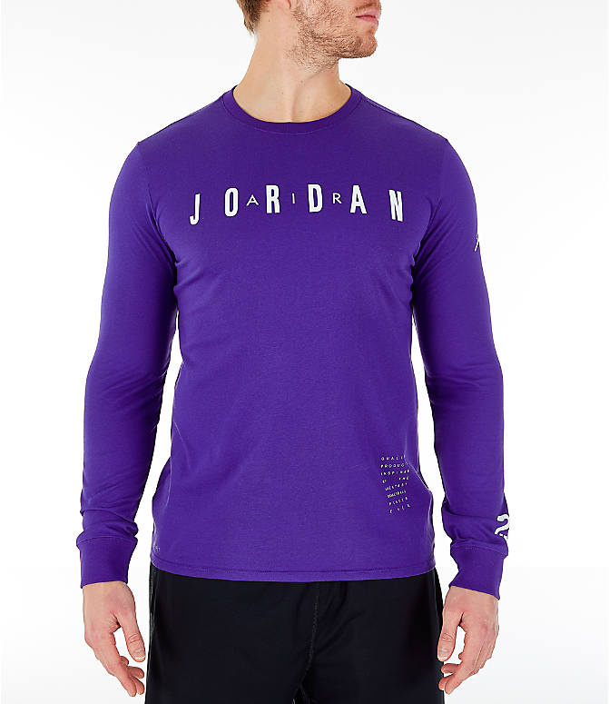 Front view of Men's Air Jordan Basketball Long-Sleeve T-Shirt in Germain Blue
