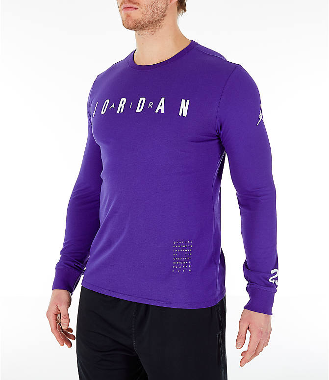 Front Three Quarter view of Men's Air Jordan Basketball Long-Sleeve T-Shirt in Germain Blue