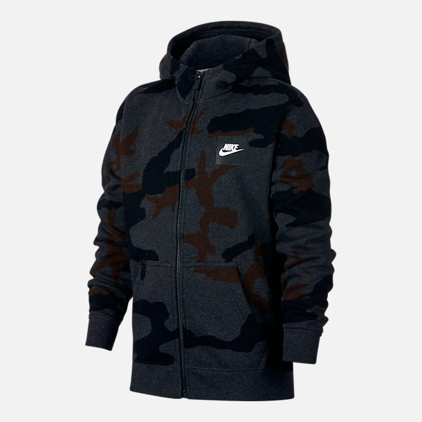 Front view of Boys' Nike Sportswear Allover Print Hoodie in Black Heather