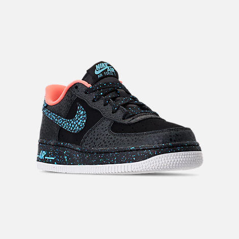 Three Quarter view of Boys' Grade School Nike Air Force 1 Pinnacle QS Casual Shoes in Black/Pulse Crimson/Pulse White