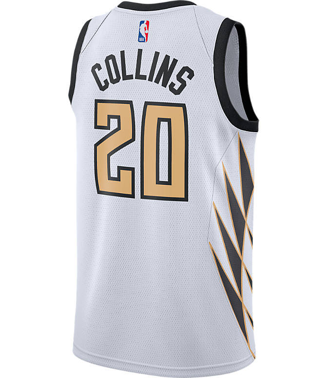 Front view of Men's Nike Atlanta Hawks NBA John Collins City Edition Connected Jersey in White