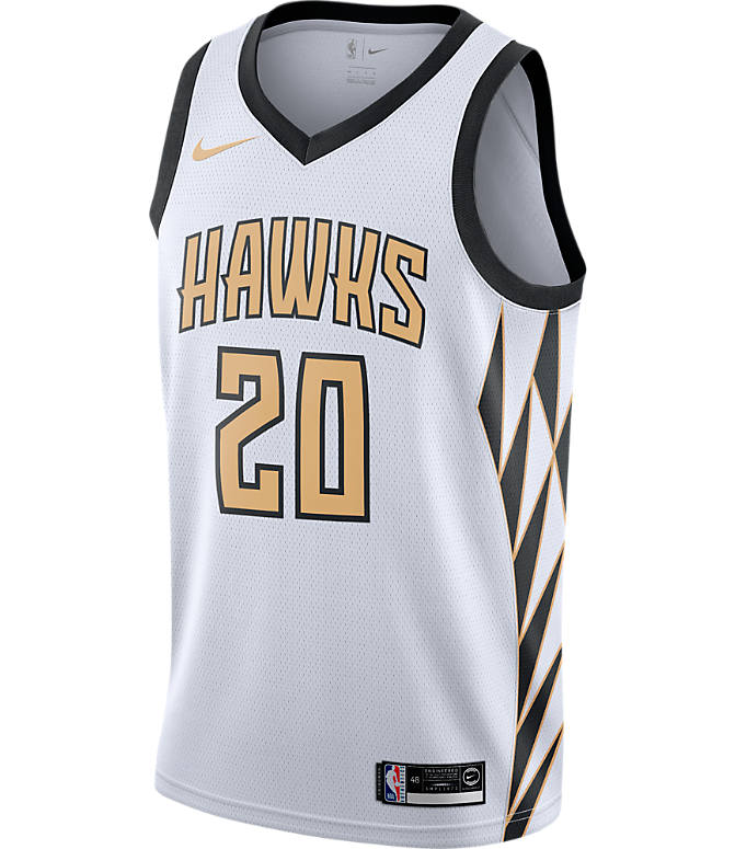 Back view of Men's Nike Atlanta Hawks NBA John Collins City Edition Connected Jersey in White