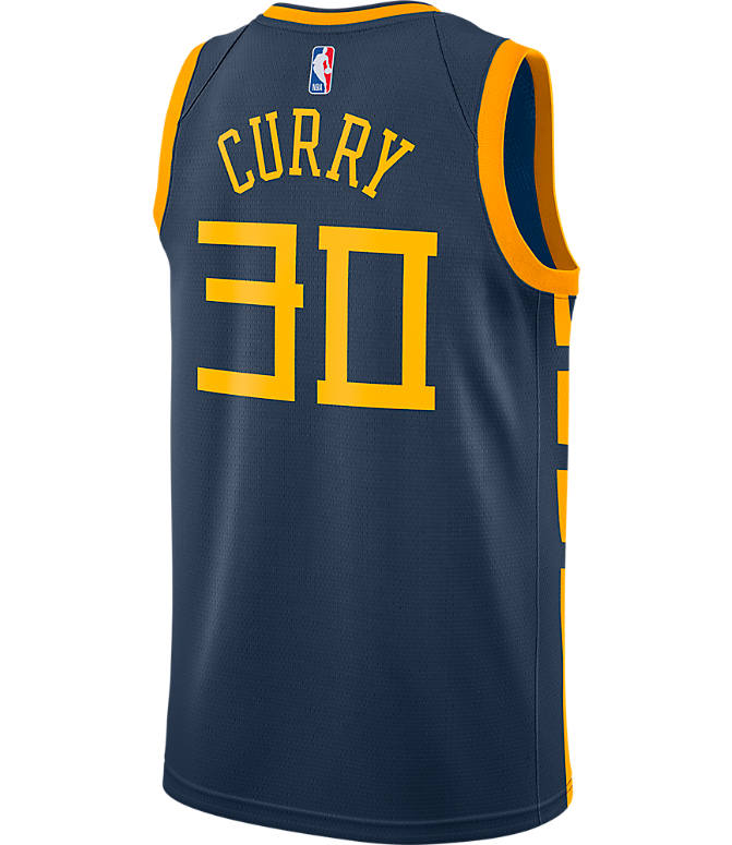 Front view of Men's Nike Golden State Warriors NBA Stephen Curry City Edition Connected Jersey in Monsoon Blue