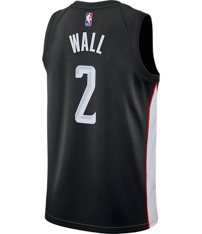 Front view of Men's Nike Washington Wizards NBA John Wall City Edition Connected Jersey in Black