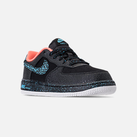 Three Quarter view of Boys' Preschool Nike Air Force 1 Pinnacle QS Casual Shoes in Black/Pulse Crimson/Pulse White