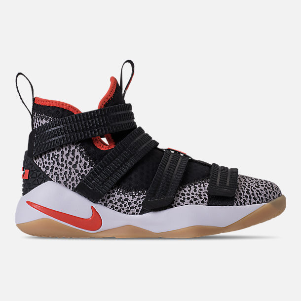 Right view of Boys' Grade School Nike LeBron Soldier 11 SFG Basketball Shoes in Black/Team Orange/White/Atmosphere Grey