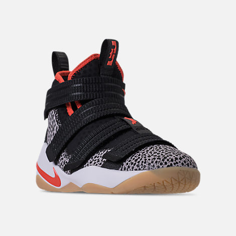 Three Quarter view of Boys' Grade School Nike LeBron Soldier 11 SFG Basketball Shoes in Black/Team Orange/White/Atmosphere Grey