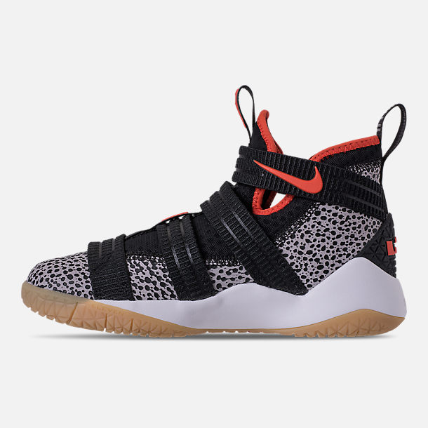Left view of Boys' Grade School Nike LeBron Soldier 11 SFG Basketball Shoes in Black/Team Orange/White/Atmosphere Grey