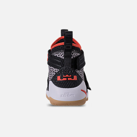 Back view of Boys' Grade School Nike LeBron Soldier 11 SFG Basketball Shoes in Black/Team Orange/White/Atmosphere Grey