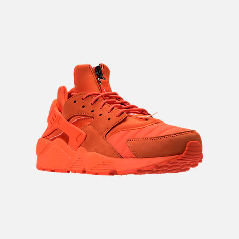 Three Quarter view of Men's Nike Air Huarache Run City Casual Shoes in Orange Blaze/Midnight Navy/White
