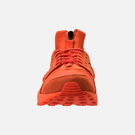 Front view of Men's Nike Air Huarache Run City Casual Shoes in Orange Blaze/Midnight Navy/White