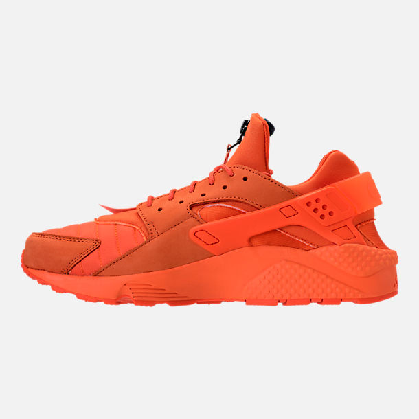 Left view of Men's Nike Air Huarache Run City Casual Shoes in Orange Blaze/Midnight Navy/White