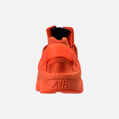 Back view of Men's Nike Air Huarache Run City Casual Shoes in Orange Blaze/Midnight Navy/White