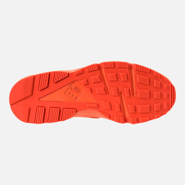 Bottom view of Men's Nike Air Huarache Run City Casual Shoes in Orange Blaze/Midnight Navy/White