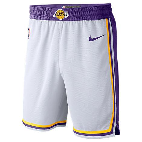 MEN'S LOS ANGELES LAKERS NBA ASSOCIATION EDITION SWINGMAN BASKETBALL SHORTS, WHITE