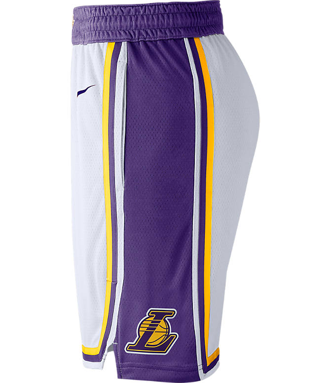 Back view of Men's Nike Los Angeles Lakers NBA Association Edition Swingman Basketball Shorts in White