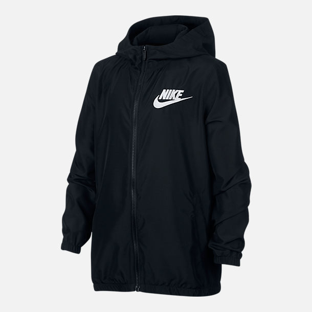Front view of Boy's Nike Woven Full-Zip Jacket in Black/Black/White