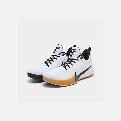 cheaper 063cf aff5a Three Quarter view of Men s Nike Mamba Focus Basketball Shoes in  White Black Gum