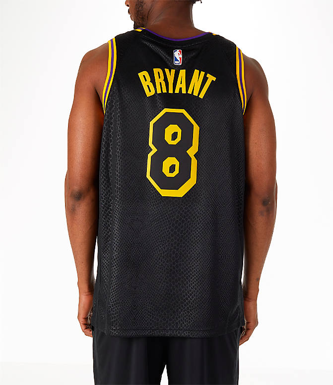 Front view of Men's Nike Los Angeles Lakers NBA Kobe Bryant City Edition Connected Jersey in Black