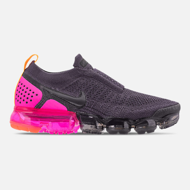 Right view of Women's Nike Air VaporMax Flyknit MOC 2 Running Shoes in Gridiron/Laser Orange/Black