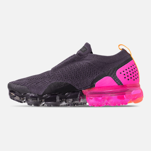 Left view of Women's Nike Air VaporMax Flyknit MOC 2 Running Shoes in Gridiron/Laser Orange/Black
