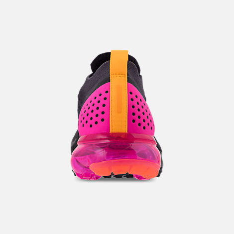 Back view of Women's Nike Air VaporMax Flyknit MOC 2 Running Shoes in Gridiron/Laser Orange/Black