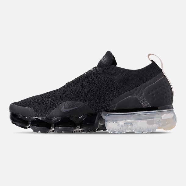 Left view of Women's Nike Air VaporMax Flyknit MOC 2 Running Shoes in Black/White/Cream/Thunder