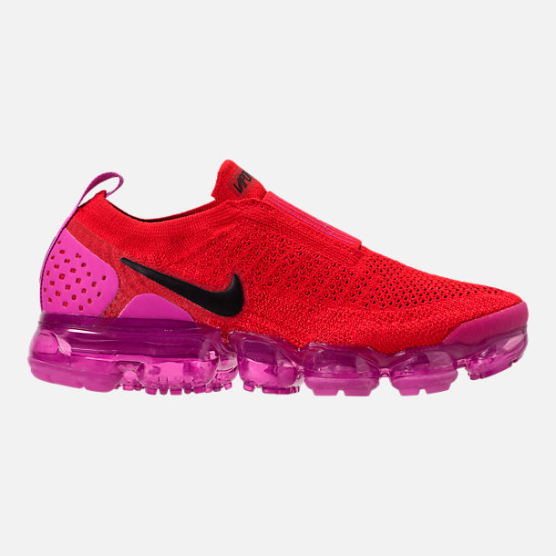 Right view of Women's Nike Air VaporMax Flyknit MOC 2 Running Shoes in University Red/Black/Fuchsia Blast
