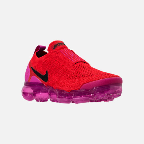 Three Quarter view of Women's Nike Air VaporMax Flyknit MOC 2 Running Shoes in University Red/Black/Fuchsia Blast