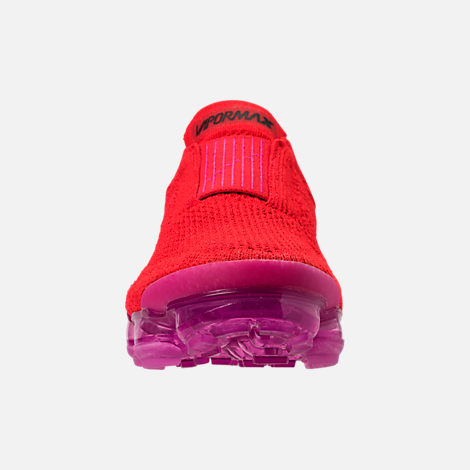 Front view of Women's Nike Air VaporMax Flyknit MOC 2 Running Shoes in University Red/Black/Fuchsia Blast