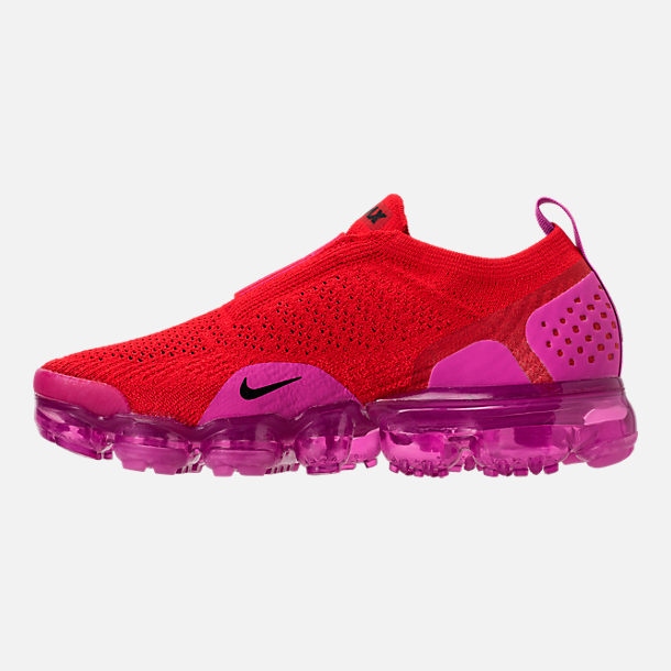 Left view of Women's Nike Air VaporMax Flyknit MOC 2 Running Shoes in University Red/Black/Fuchsia Blast