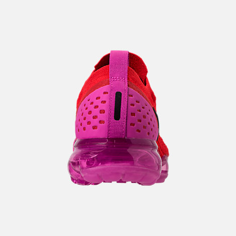 Back view of Women's Nike Air VaporMax Flyknit MOC 2 Running Shoes in University Red/Black/Fuchsia Blast