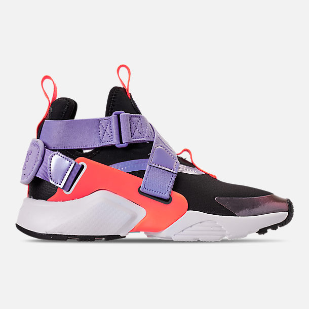 Right view of Boys' Big Kids' Nike Huarache City Casual Shoes in Black/Twilight Pulse/Total Orange
