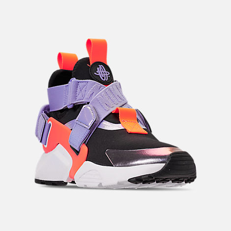Three Quarter view of Boys' Big Kids' Nike Huarache City Casual Shoes in Black/Twilight Pulse/Total Orange
