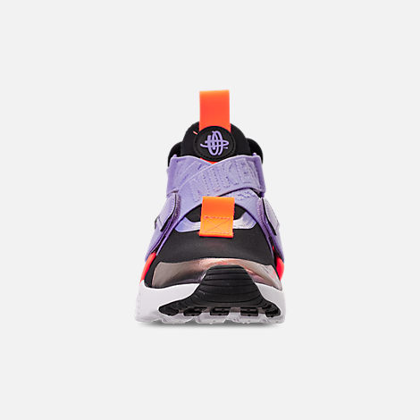 Front view of Boys' Big Kids' Nike Huarache City Casual Shoes in Black/Twilight Pulse/Total Orange