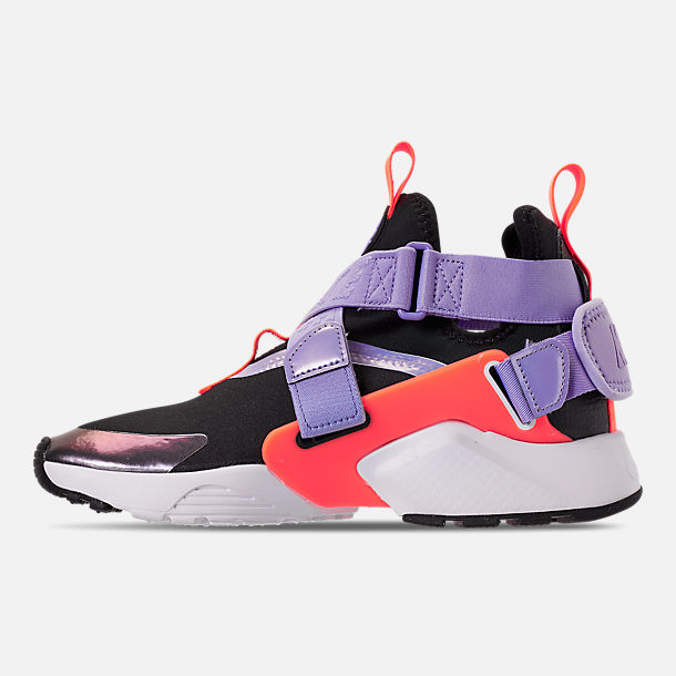 Left view of Boys' Big Kids' Nike Huarache City Casual Shoes in Black/Twilight Pulse/Total Orange