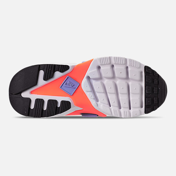 Bottom view of Boys' Big Kids' Nike Huarache City Casual Shoes in Black/Twilight Pulse/Total Orange