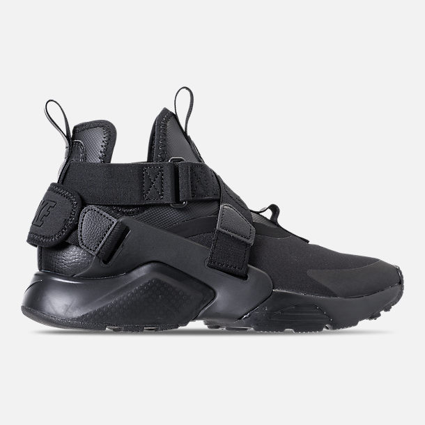 Right view of Kids' Grade School Nike Huarache City Casual Shoes in Black/Black/Dark Grey/White
