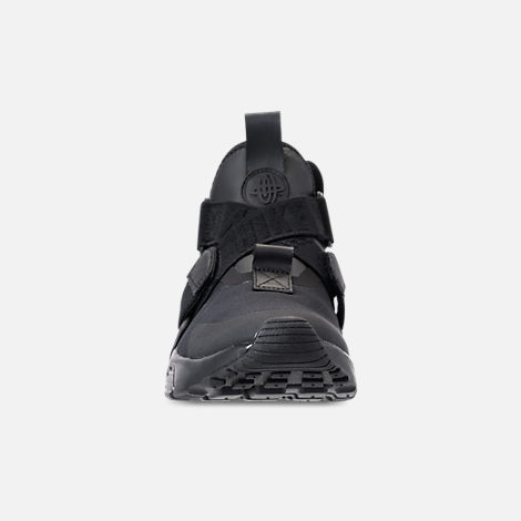Front view of Kids' Grade School Nike Huarache City Casual Shoes in Black/Black/Dark Grey/White