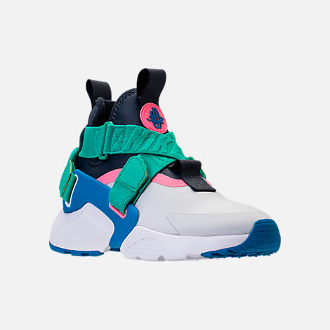 Three Quarter view of Little Kids' Nike Huarache City Casual Shoes in Pure Platinum/Blue Nebula/Obsidian
